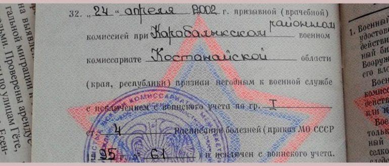 буква В в военном билете