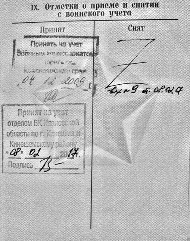 Отметки в военном билете о приеме и снятии с учета