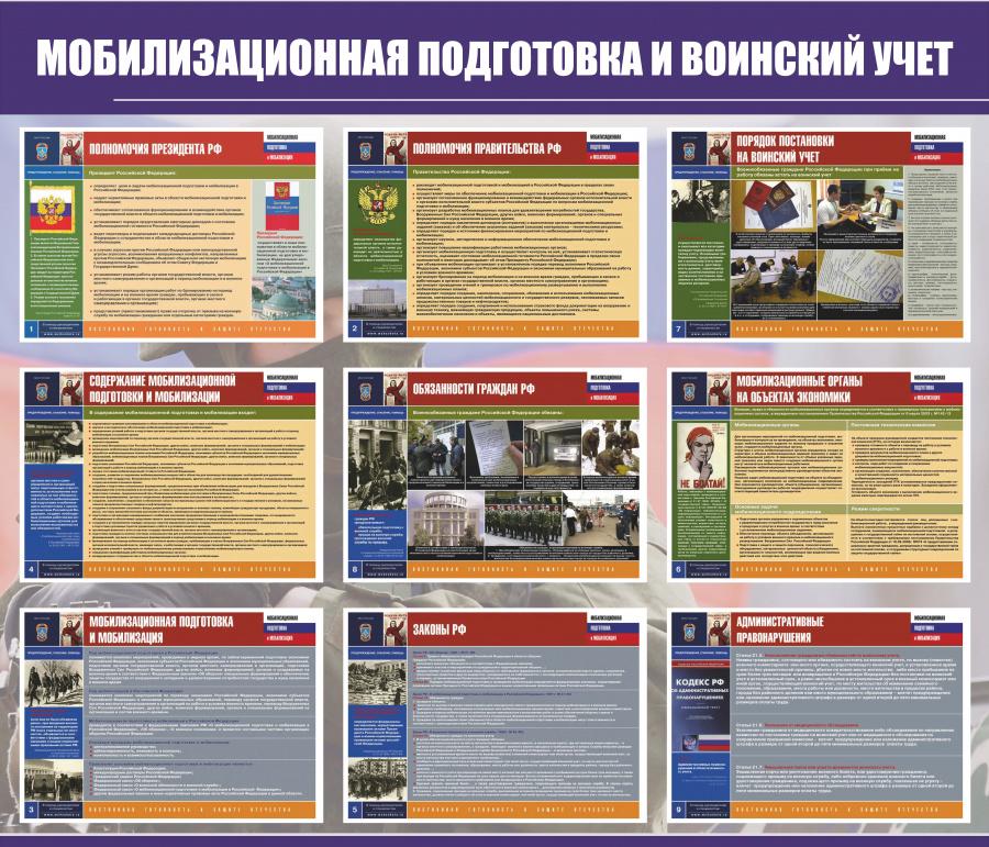 """Образец стенда """"мобилизационная подготовка и воинский учет"""""""