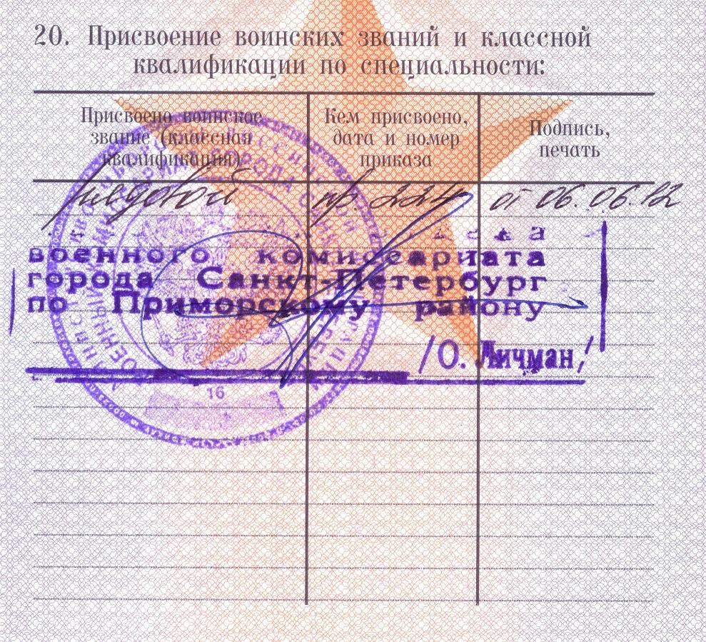 Пометка о присвоении звания рядового в военном билете